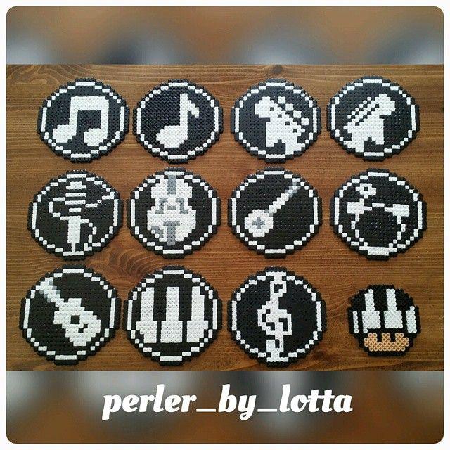 Music coasters hama perler beads by perler_by_lotta
