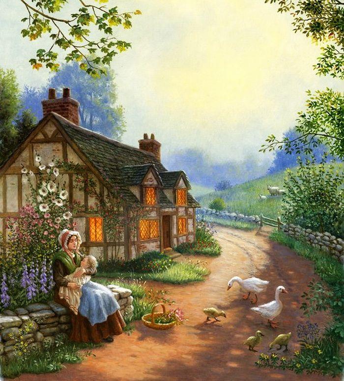 Деревня в картинках винтаж