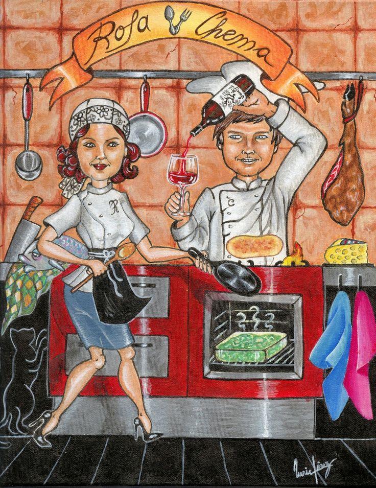 Dibujar, pintar y mucho más: RETRATO ILUSTRACIÓN III: Siempre que llegas a casa me encuentras en la cocina...