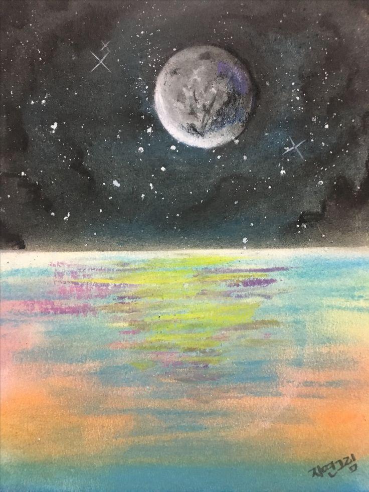 파스텔 첫작품 바다 달 몽환적 느낌