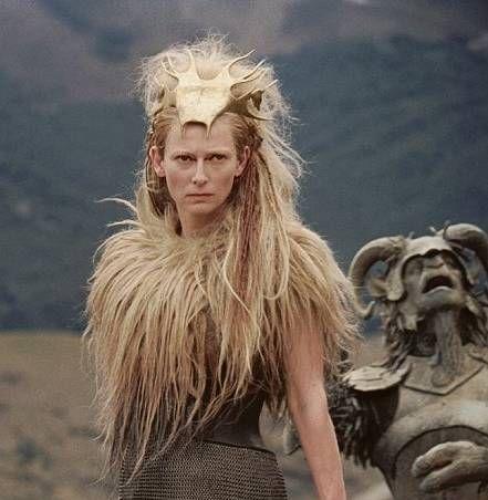 Tilda Swinton as Jadis, the White Witch. Her collar is made from Aslan's mane, taken during his sacrifice.