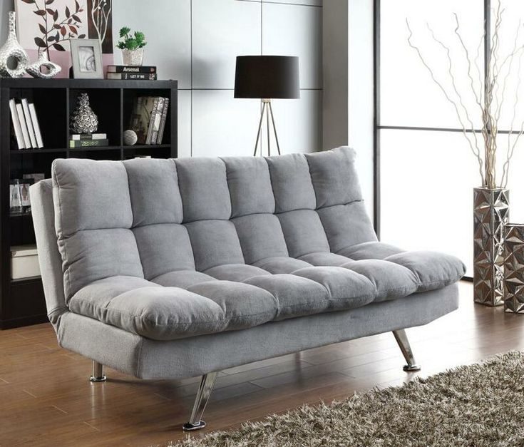 light grey teddy bear fabric upholstered folding sofa futon bed with tufted accents measures