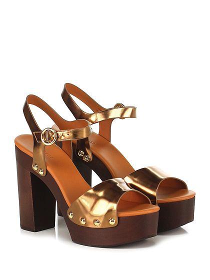 What for - Sandalo alto - Donna - Sandalo alto in pelle spazzolata laminata con cinturino alla caviglia e suola in gomma. Tacco 125, platform 45 con battuta 80. - BRONZE - € 169.00