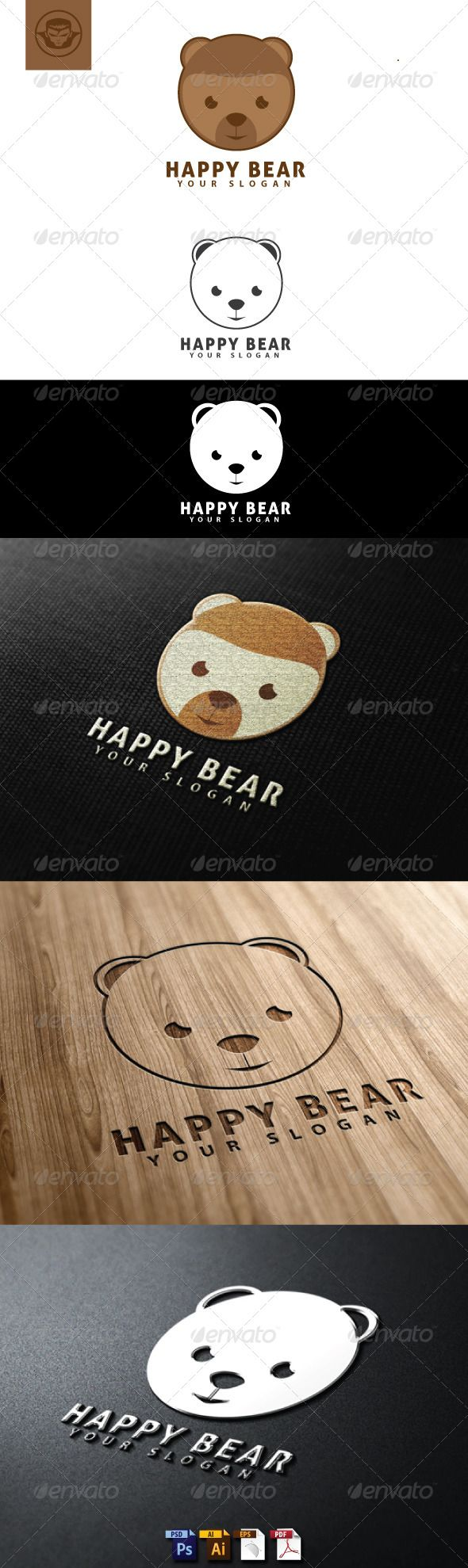 Happy Bear Logo Template — Photoshop PSD #character #head • Available here → https://graphicriver.net/item/happy-bear-logo-template/4818438?ref=pxcr