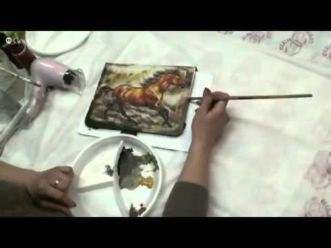 Декупаж, чехол для планшета, золочение - YouTube
