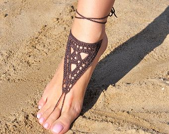 Haak Brown Barefoot Sandals, voet sieraden, bruidsmeisje geschenk, blootsvoets sandles, strand, Anklet, bruiloft schoenen, strand bruiloft, zomer schoenen