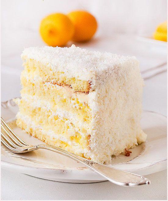 Кокосовый торт с лимонным курдом и сливочным кремом