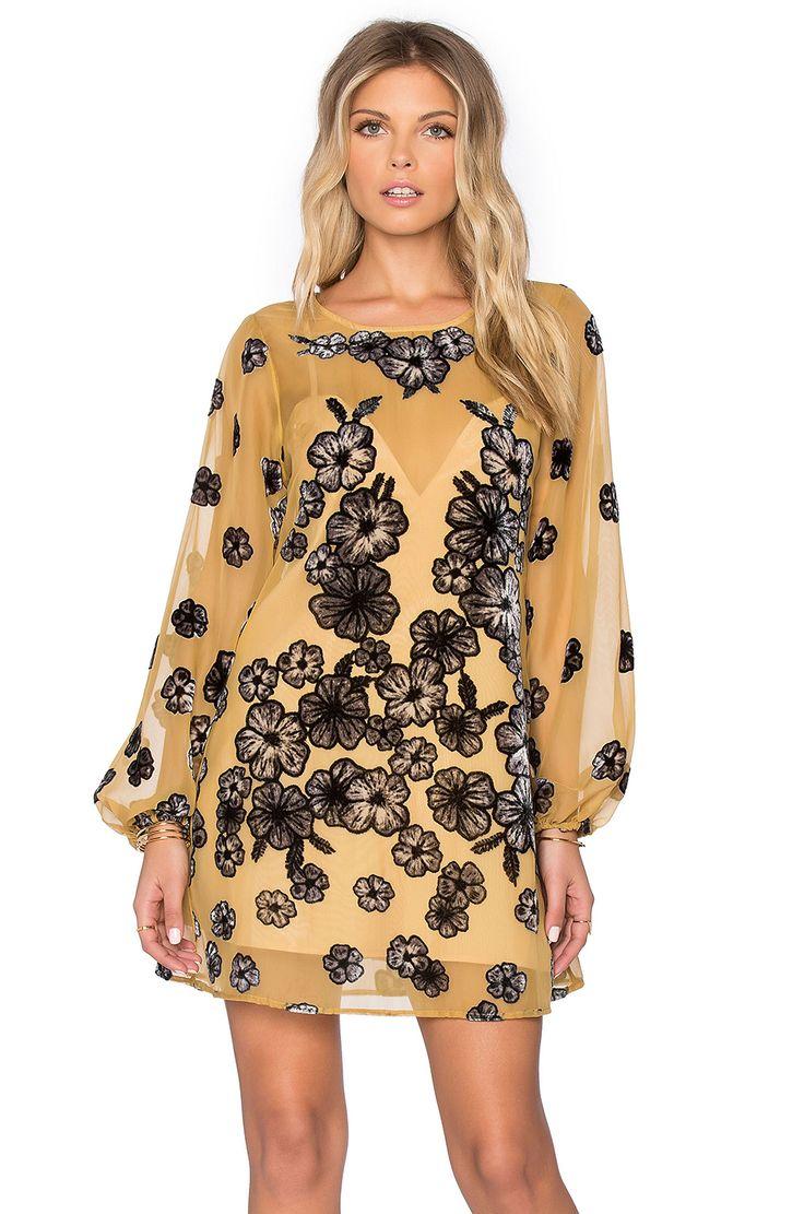 For Love & Lemons Heather Mini Dress en Amarillo Mostaza | REVOLVE