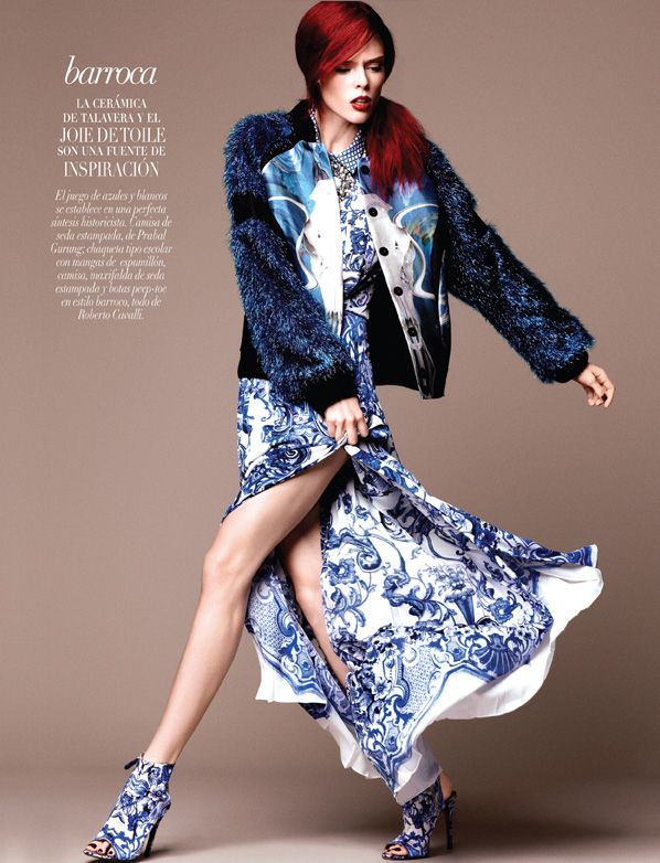 Coco Rocha | Dress & shoes by Roberto Cavalli (Resort 2013), jacket by Prabal Gurung (Fall RTW 2012) | Photog: David Roemer | Vogue (Mexico) December 2012