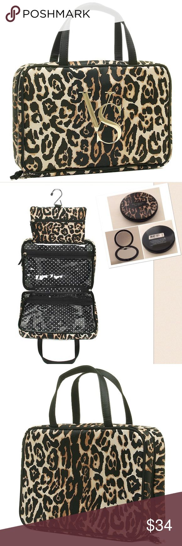 """New Victoria's Secret Leopard Hanging Cosmetic Bag ❤️New with tags, this great hanging cosmetic bag is great for traveling.✈️✈️Two clear zipper pockets with a little pouch where the hanging clip is❗️Easy  to clean bagApprox measurements 4""""L x 11"""" W x 7 1/2"""" H.  ❤️❤️PLUS BONUS GIFT-A COMPACT LEOPARD MIRROR Victoria's Secret Bags Cosmetic Bags & Cases"""