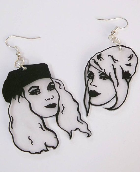 Handmade Absolutely Fabulous . Patsy and Eddie illustrated shrink plastic statement earrings