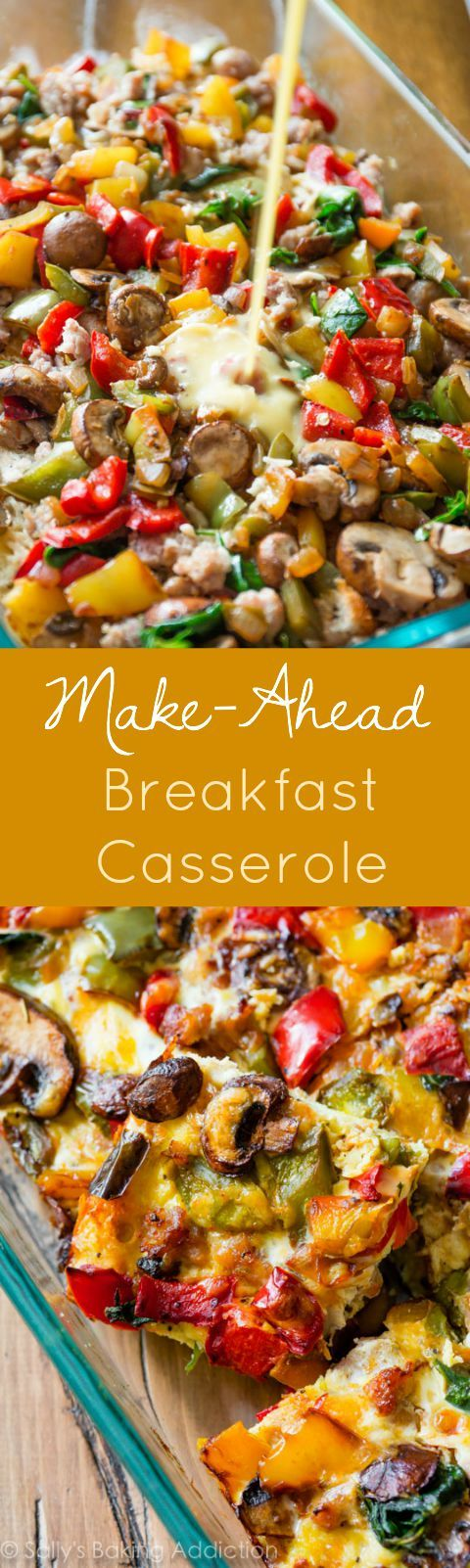 Easy breakfast casserole you can freeze or make the night before! Use your favorite vegetables, meats, and cheese. Recipe on sallysbakingaddic... #breakfast #recipes #brunch #easy #recipe