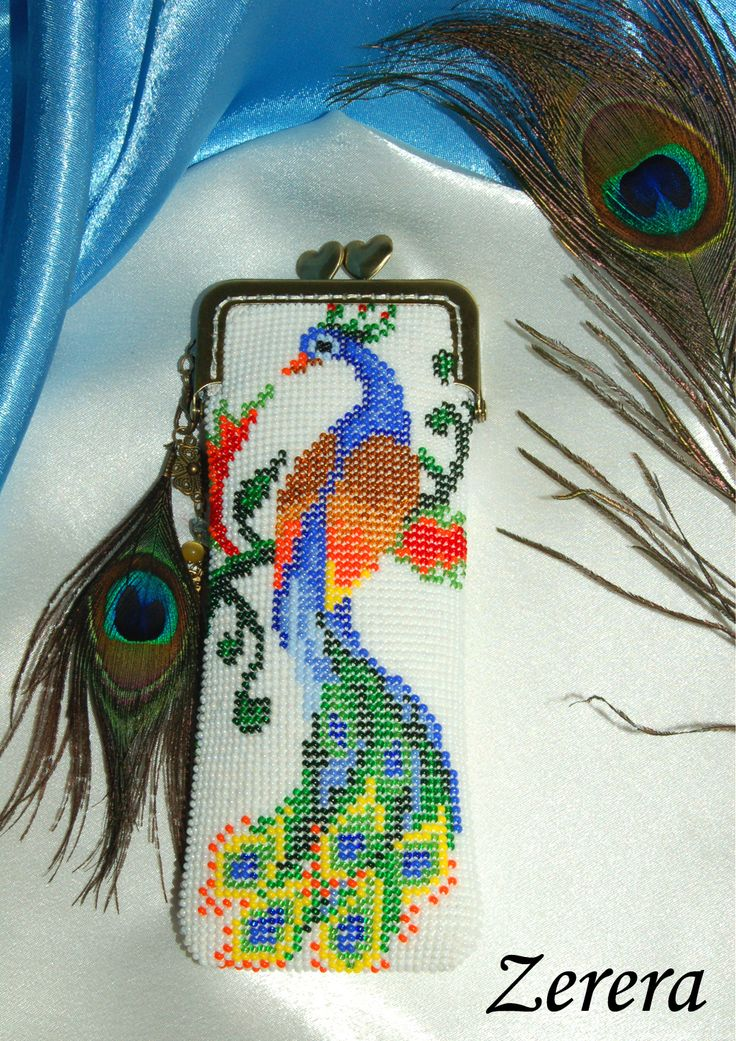 Soft spectacle case with peacock