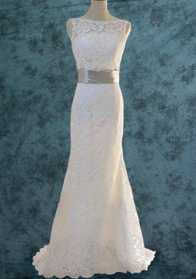 Lace Wedding Dress W1004 by SnowyWeddingHouse on Etsy, $256.00