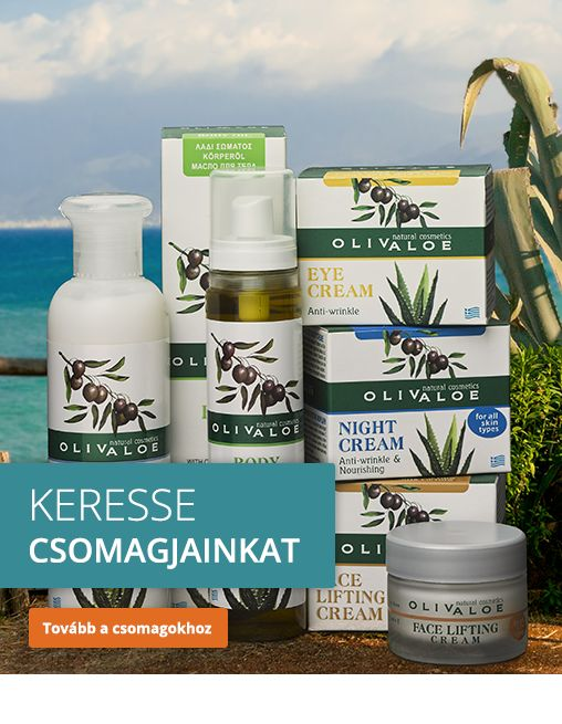Olíva és aloe vera felhasználásával készült természetes szépségápolási termékek.