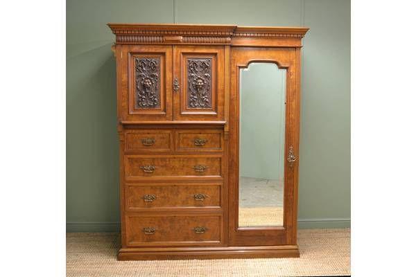 Magnificent 'Burr' Pollard Oak Arts & Crafts #Antique Wardrobe | Vinterior London  #armoire #vintage #design #home