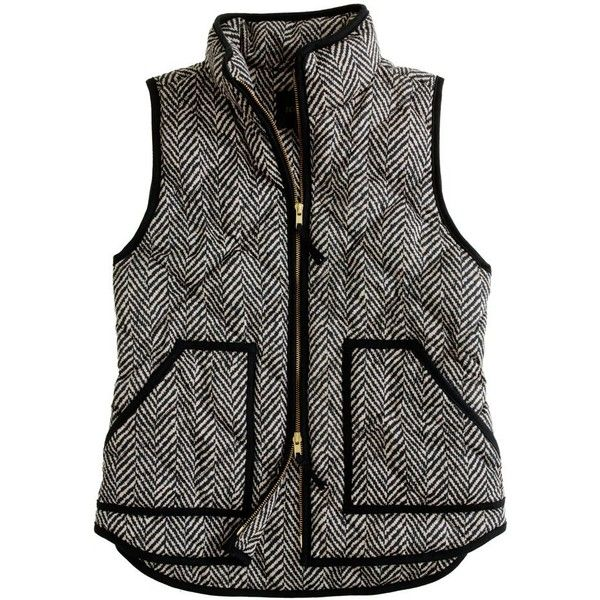 New j crew small herringbone down filled quilted puffer excursion vest black s
