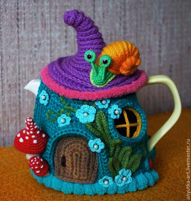 """Купить Грелка на чайник """"Сказочный домик"""" (с чайником) - разноцветный, грелка на чайник, грелка для чайника"""