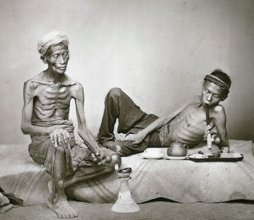 These emaciated and no doubt seriously addicted opium smokers were photographed in Java in the early 20th century