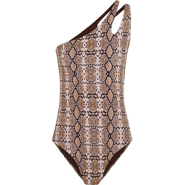 Melissa Odabash Jamaica one-shoulder snake-print swimsuit (1.679.640 IDR) ❤ liked on Polyvore featuring swimwear, one-piece swimsuits, brown, bathing suit swimwear, snake print swimsuit, brown one piece swimsuit and one shoulder bathing suit