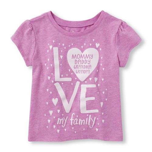 Image for Toddler Girls Short Sleeve 'Love My Family' Graphic Tee from The Children's Place