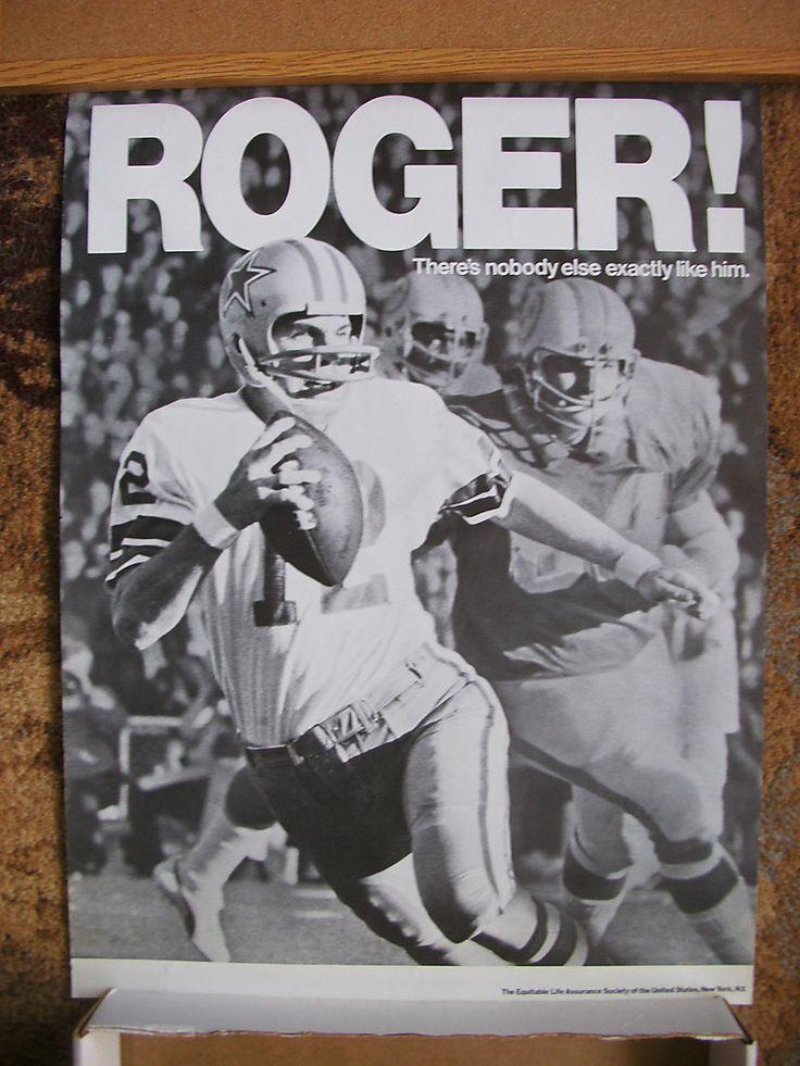 c1972 Equitable Life Insurance Poster Roger Staubach Dallas Cowboys Navy