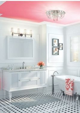 Bathroom inspiration..cool painted ceiling