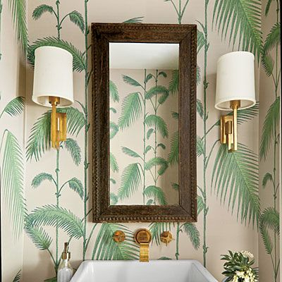 Tropical Wallpaper Ideas / bathroom decor / palm fronds - Southern Living