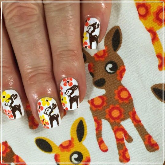 Adorable Deer Stamping Nails : http://onnenkynnet.blogspot.fi/2015/01/born-pretty-store-ja-yhteistyo.html