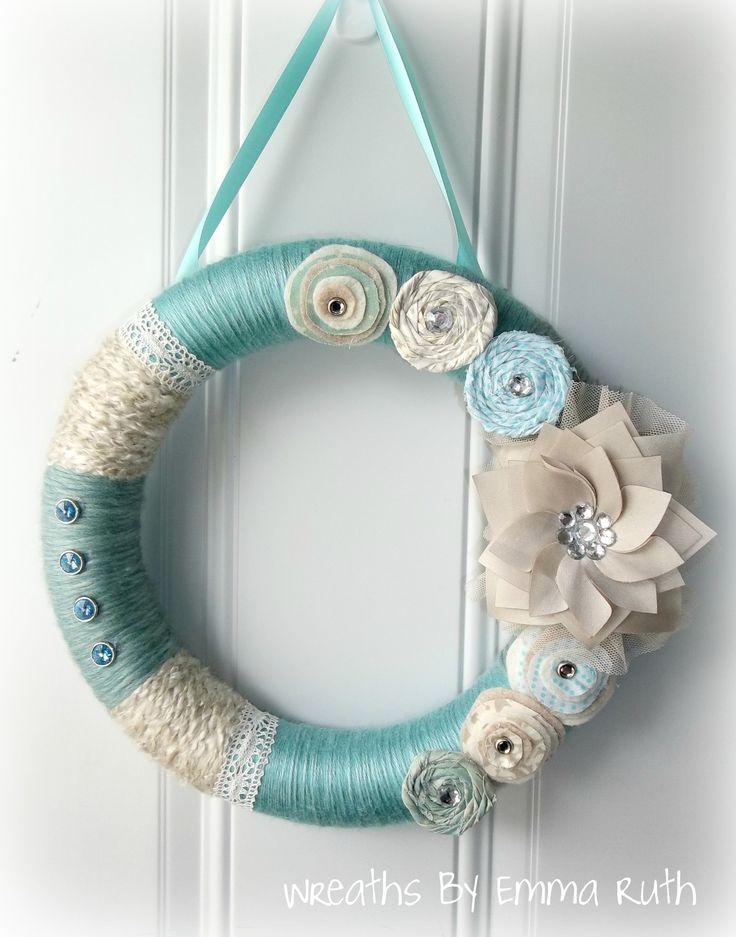 ... Wreaths, Blue Yarns, Wreaths Ideas, Yarns Wreaths, Flower Wreaths