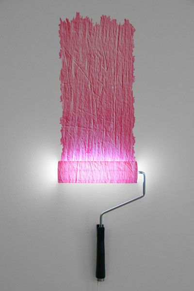 Paint Roller Lamp on Wall - http://www.recyclart.org/2012/07/paint-roller-lamp/