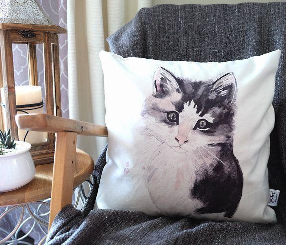 Housse de coussin chat chaton impression sur tissu par CynthiArtetc