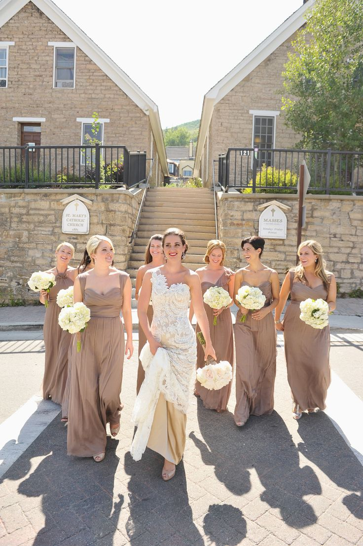 Best 25 taupe bridesmaid ideas on pinterest ivory wedding long taupe bridesmaid dresses ombrellifo Choice Image