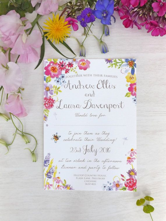 Secret Garden Floral Watercolour Wedding Invitation