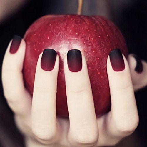 ICYMI 24 pièces de 12 différents foncé Taille de Noël Style conte de fées  Apple Gradient Noir Rouge mat court carré Full Cover Faux ongles\u2026