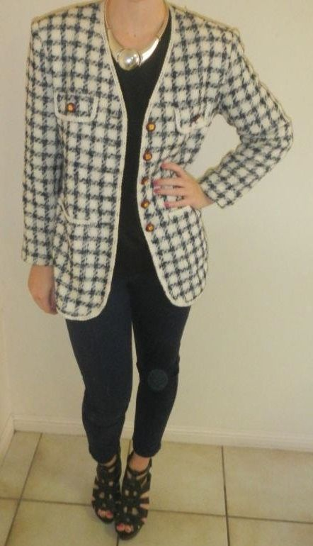 Rare vintage 1960's Jackie O style jacket by Hermine Couture in Paris.  Dark-blue & white checker pattern with large maroon & gold buttons. Two mock top-pockets & two large functioning front pockets, plus shoulder pads. Available to buy now!