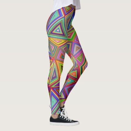 Triangle Triumph Bright Multi-Coloured Leggings - pattern sample design template diy cyo customize