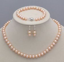 7-8mm pink akoya cultured pearl Necklace Bracelet Earring Sets