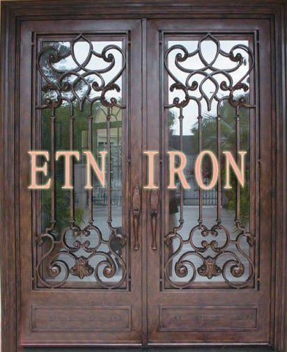 Pas cher portes d 39 entr e en fer forg personnalis s for Decoration porte fer forge