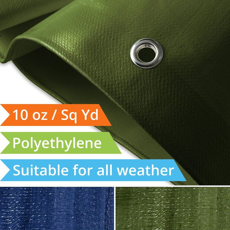 Tarps Heavy Duty Waterproof | Ground Tent Trailer Cover | Large Tarpaulin in Multiple Sizes | 10 oz / Sq Yd | Green - 10' x 12'