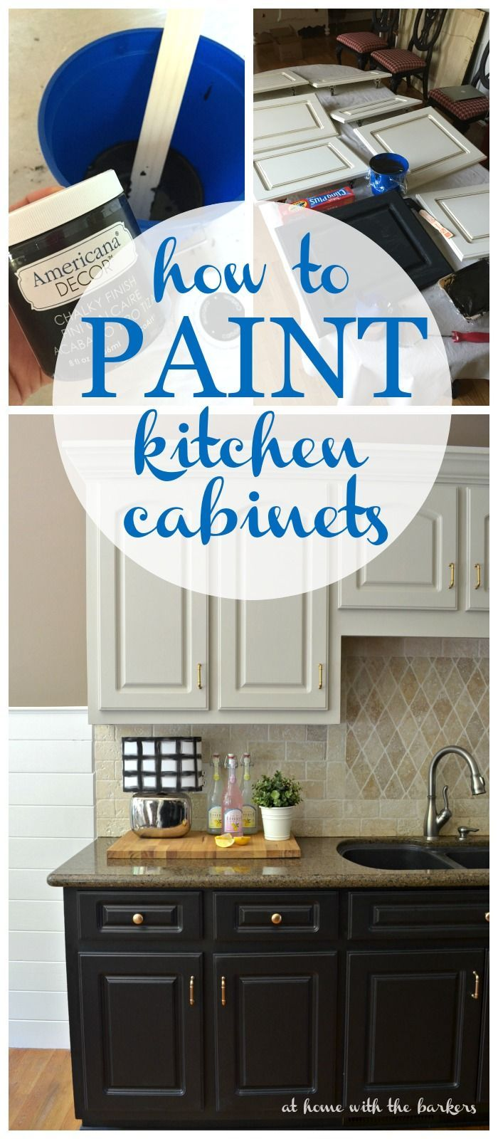 How to Paint Kitchen Cabinets with Chalky Finish Paint via Athomewiththebarkers.
