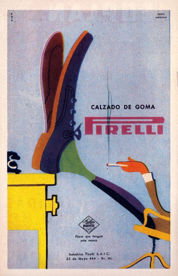 Camminate Pirelli, 1948 poster ad for Pirelli rubber soles, art by Ermanno Scopinich