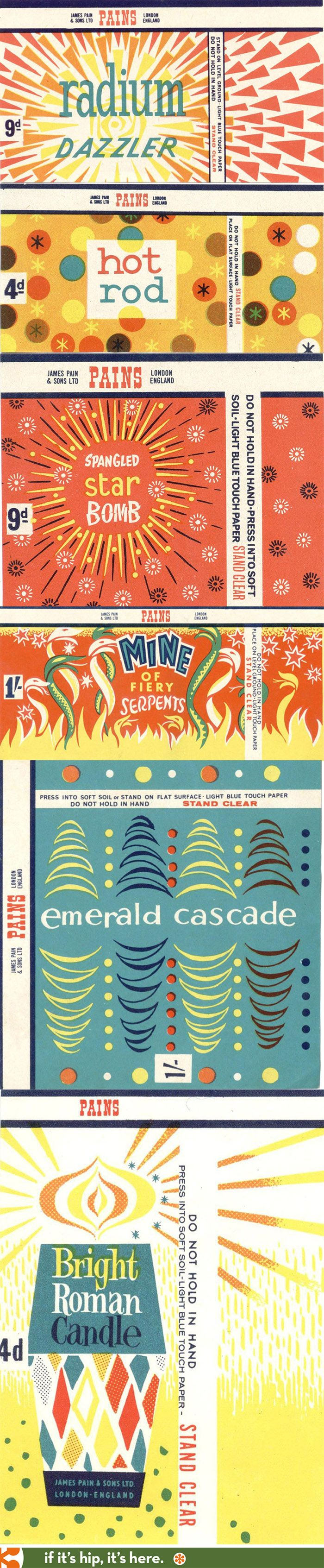 Vintage fireworks packaging from Pain's of England.