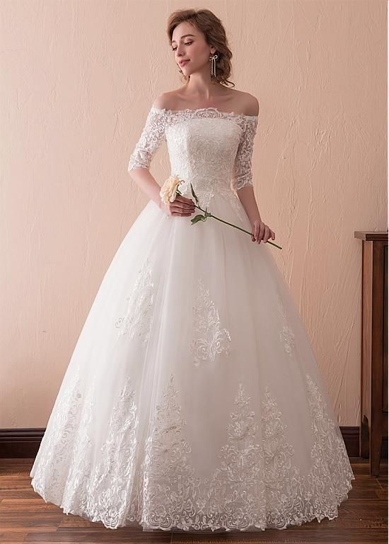 Tulle Off-the-shoulder Neckline 3 4 Length Sleeves A-line Wedding Dress  With Lace Appliques at Dressilyme.com  weddingdress 1ce84c8ec