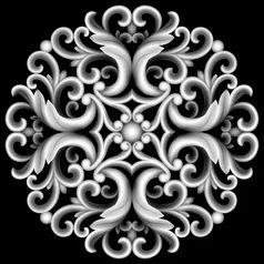 椭圆欧式洋花门贴花精雕浮雕灰度设计图__其_360图片