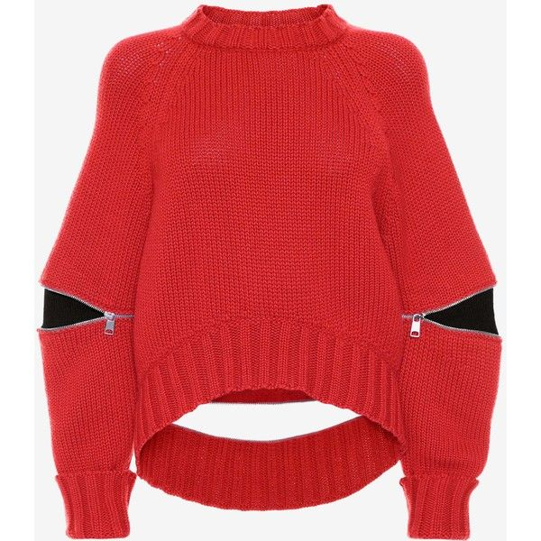 Alexander McQueen Slashed Detail Knitted Jumper ($1,275) ❤ liked on Polyvore featuring tops, sweaters, lust red, crew sweater, red crew neck sweater, oversized crew neck sweater, long sleeve sweater and crewneck sweaters