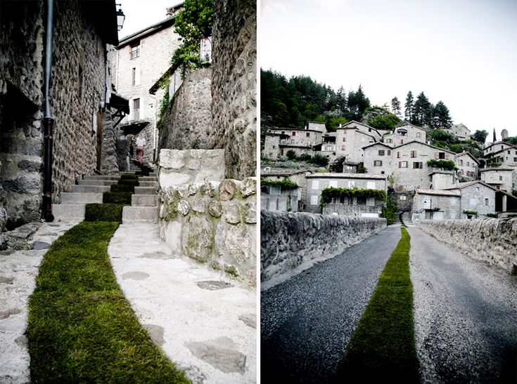 So charming! French artist Gaëlle Villedary created this installation for the town of Jaujac—a 1400-foot long grass runner that traces the pedestrian streets right into the town's center.