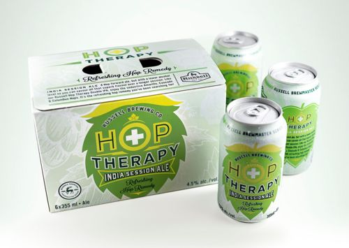 Russell Brewing Co.'s Hop Therapy India Session Ale via @Matty Chuah Dieline...I don't know about you but I could use some Therapy this Wednesday morning...