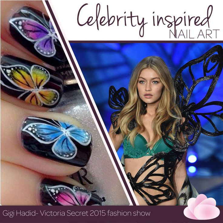 Our woman crush Wednesday is Gigi Hadid. She inspired us to float like a butterfly and look like one too. ‪#‎WCW‬ ‪#‎CelebInspired‬ ‪#‎NailArt‬