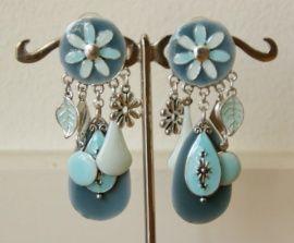 Mooi grote geëmailleerde clip oorbellen - oorclips met hangers - Blauw  #oorclips, #clipoorbellen, #bijoux, #oorbellenclip,